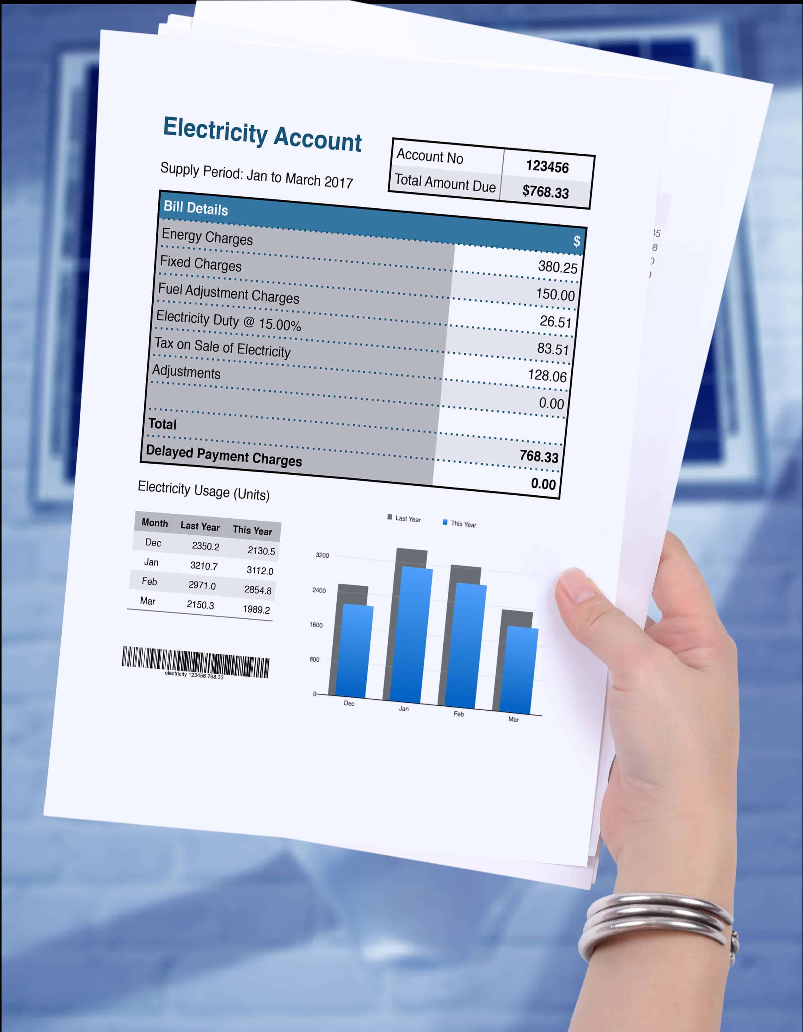Electricity usage bill.